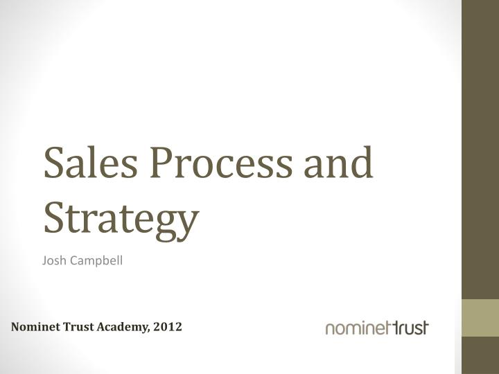 sales process and strategy n.