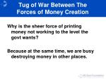 tug of war between the forces of money creation