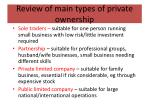review of main types of private ownership