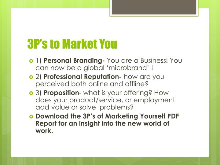 3P's to Market You