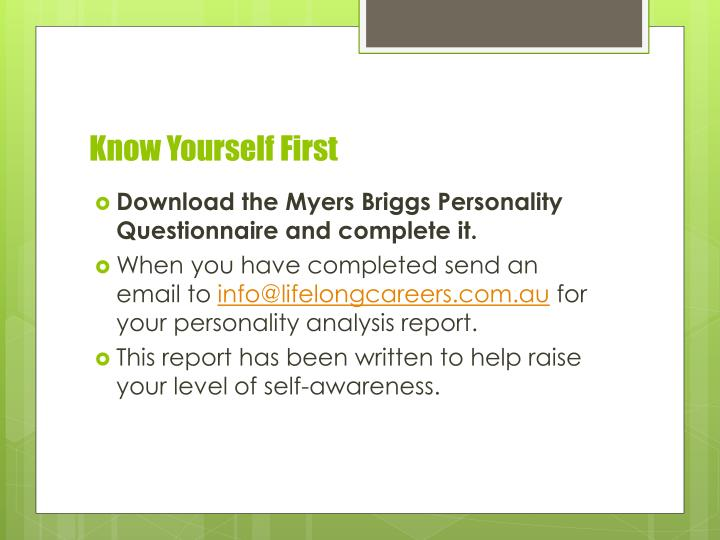 Know Yourself First