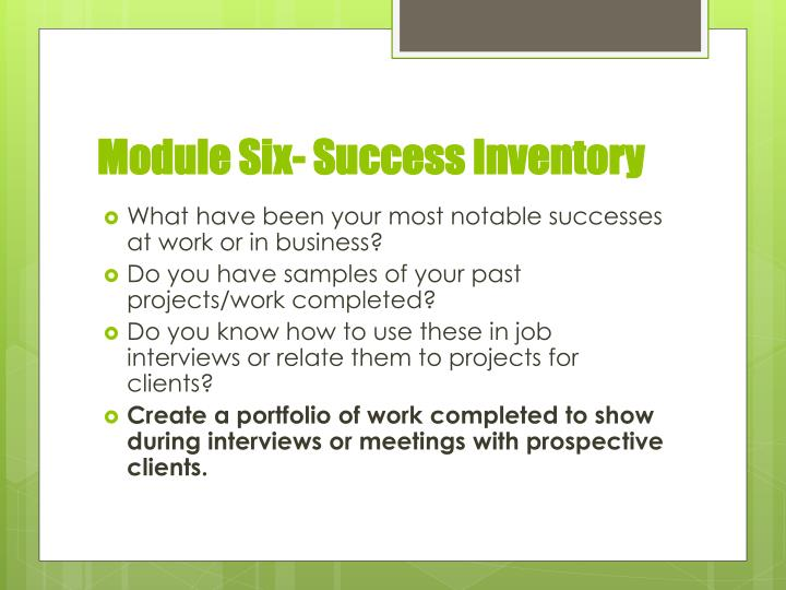 Module Six- Success Inventory