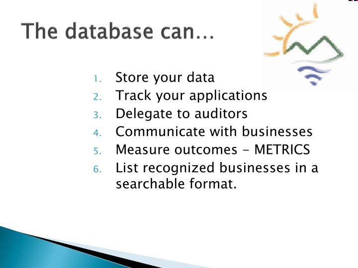 The database can…