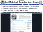joint modeling simulation users group