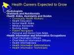 health careers expected to grow
