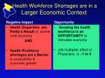 health workforce shortages are in a larger economic context