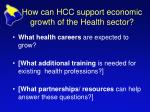 how can hcc support economic growth of the health sector