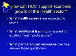 how can hcc support economic growth of the health sector1