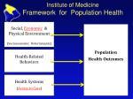 institute of medicine framework for population health