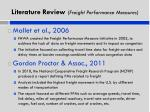 literature review freight performance measures