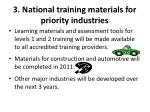 3 national training materials for priority industries