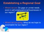 establishing a regional goal