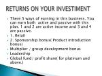 returns on your investiment