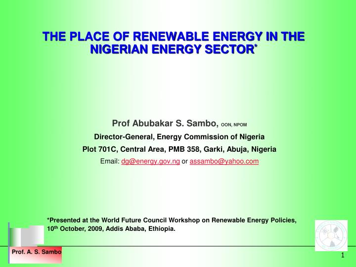 the place of renewable energy in the nigerian energy sector n.