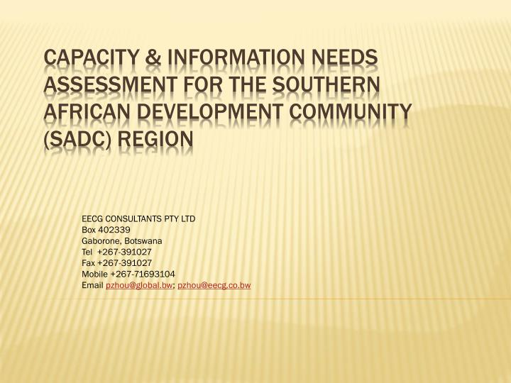 capacity information needs assessment for the southern african development community sadc region n.