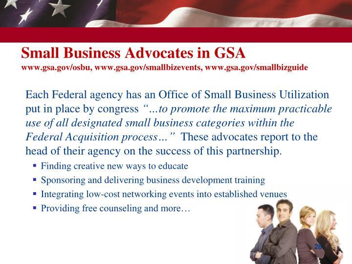 Small Business Advocates in GSA