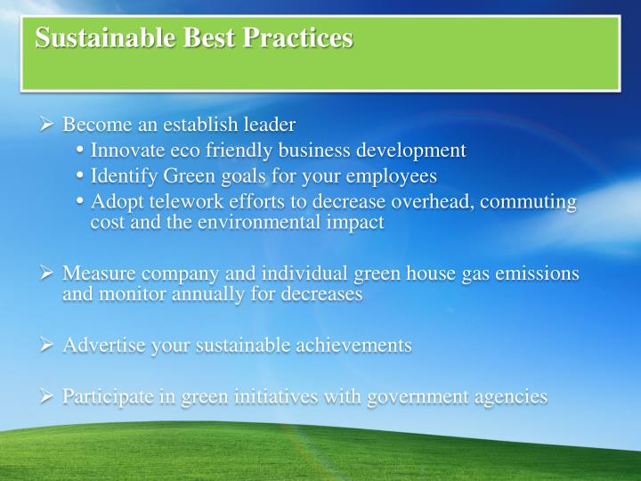 Sustainable Best Practices