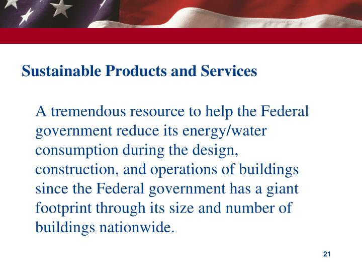 Sustainable Products and Services
