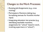 changes to the work processes