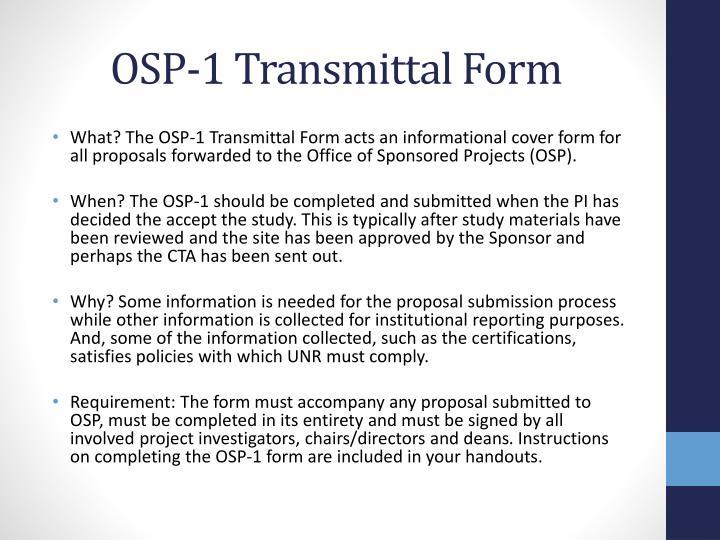 OSP-1 Transmittal Form