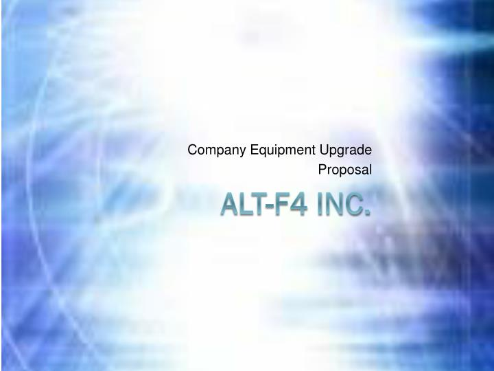 company equipment upgrade proposal n.
