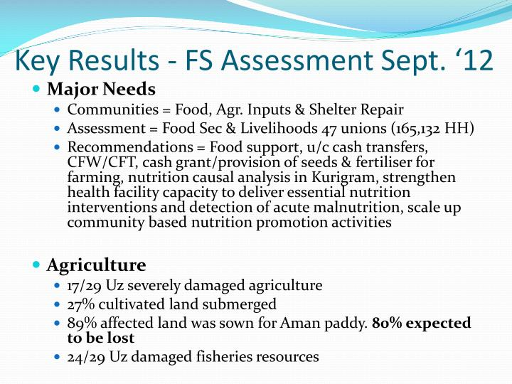 Key results fs assessment sept 12