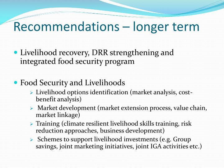 Recommendations – longer term