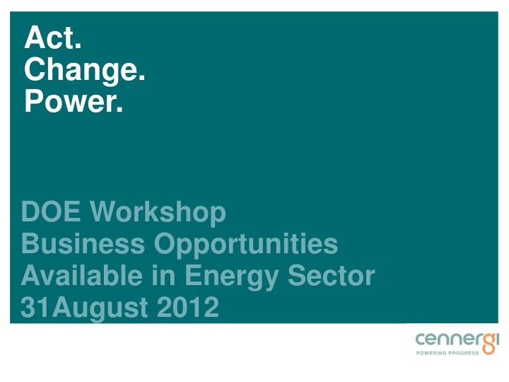 doe workshop business opportunities available in energy sector 31august 2012 n.
