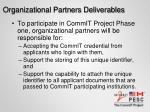 organizational partners deliverables