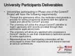 university participants deliverables