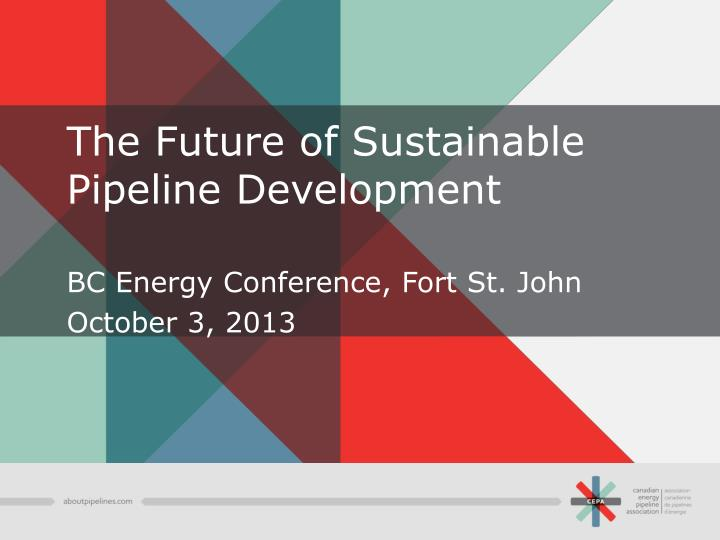 the future of sustainable pipeline development n.