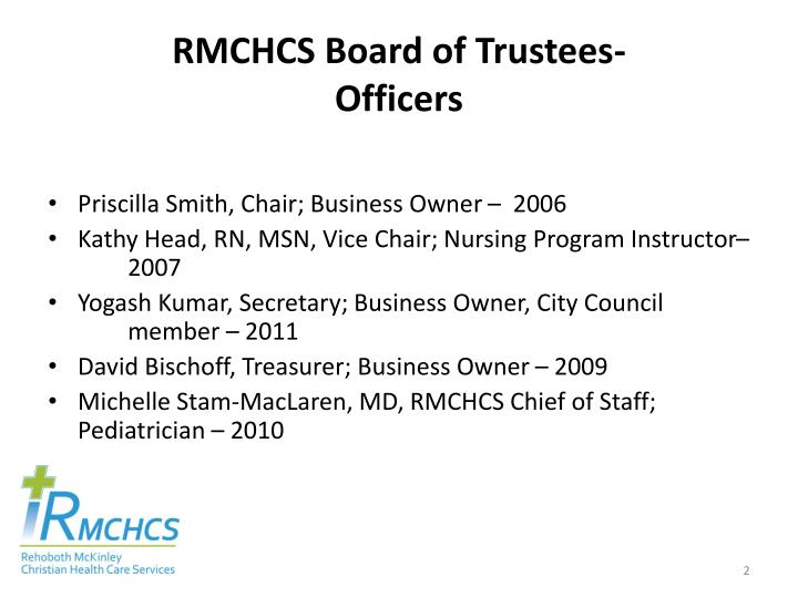 Rmchcs board of trustees officers
