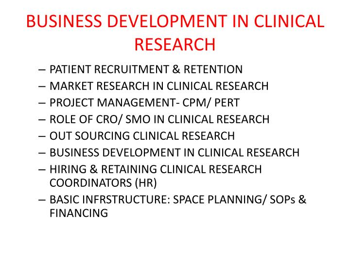 business development in clinical research n.