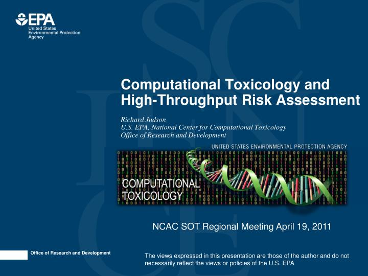 computational toxicology and high throughput risk assessment n.