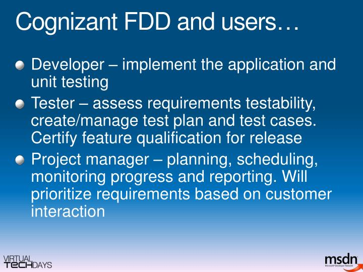 Cognizant FDD and users