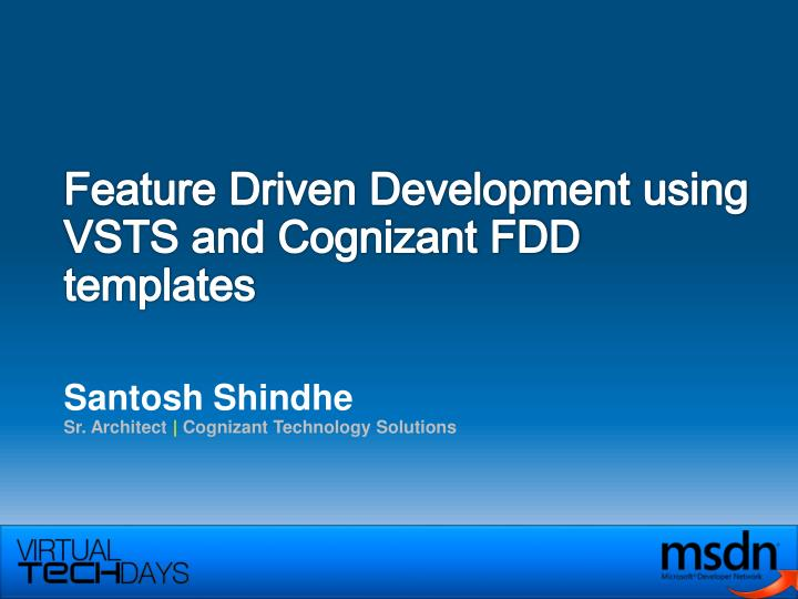 feature driven development using vsts and cognizant fdd templates n.