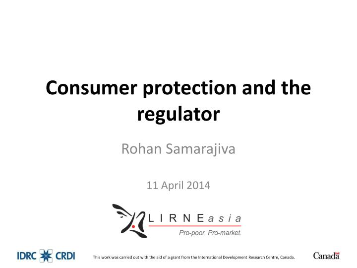 consumer protection and the regulator n.