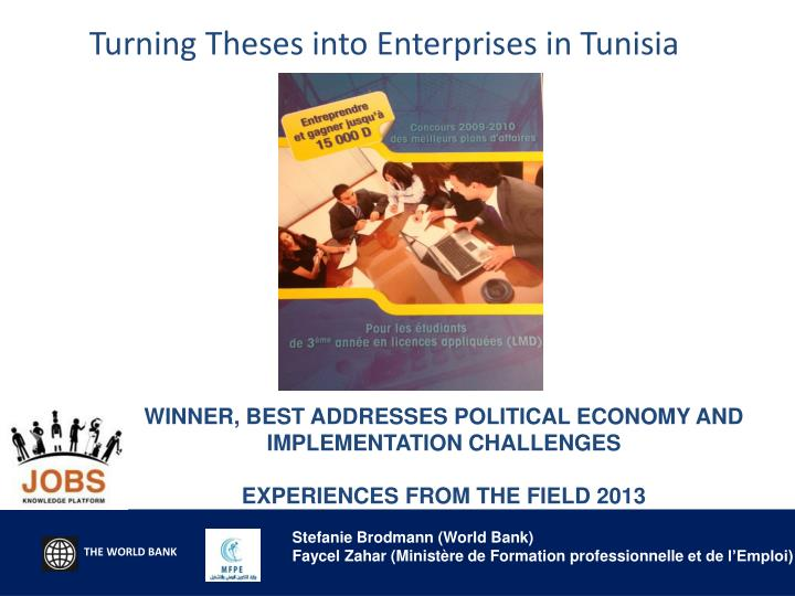 turning theses into enterprises in tunisia n.