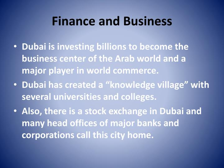 Finance and Business