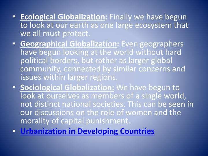Ecological Globalization