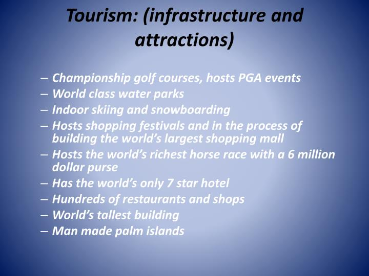 Tourism: (infrastructure and attractions)
