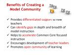 benefits of creating a model community