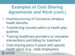 examples of cost sharing agreements and work cont