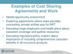 examples of cost sharing agreements and work