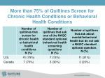 more than 75 of quitlines screen for chronic health conditions or behavioral health conditions