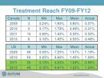 treatment reach fy09 fy12