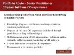 portfolio route senior practitioner 10 years full time od experience