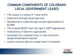 common components of colorado local government leases