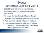 events effective date 12 1 2011