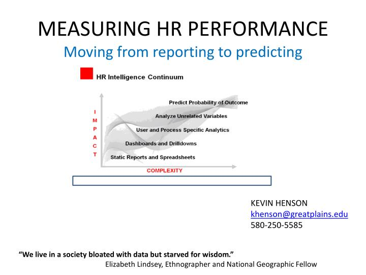 measuring hr performance moving from reporting to predicting n.